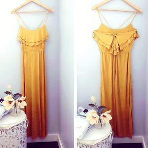 Beautiful ruffles mustard maxi dress